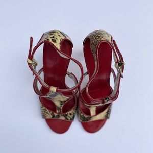 MARC FISHER snake print and red heels